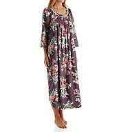 Carole Hochman Holiday Bouquet Flannel Long Sleeve Long Gown 1881263