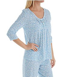 Carole Hochman Aqua Floral Cotton 3/4 Sleeve Long PJ Set C71901
