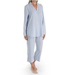 Carole Hochman Blue Whisper Woven Capri PJ Set CH91559