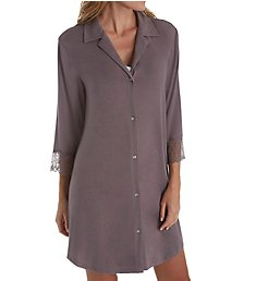 Carole Hochman Midnight Delicate Bouquet 3/4 Sleeve Button Sleepshirt MD31602