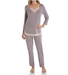 Carole Hochman Midnight Delicate Bouquet 3/4 Sleeve Long Pant PJ Set MD91603