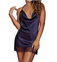 Dreamgirl Silky Satin Chemise with Lace Trim 10532