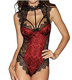 Dreamgirl High Neck Teddy with Lace Overlay 10537