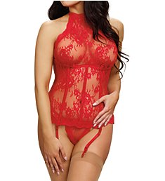 Dreamgirl High Neck Lace Bustier with Matching G-String 10939