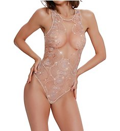 Dreamgirl Sheer Mesh Teddy with Sequin Embroidery 10980