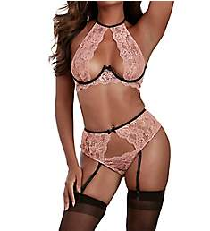Dreamgirl High Neck Open Cup Bra with Garter Panty 11508