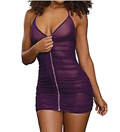 Dreamgirl Zip Up Ruched Chemise 11517