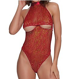 Dreamgirl Lace Open Cup Halter Neck Teddy 11772