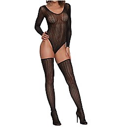 Dreamgirl Seamless Sweater Knit Teddy with Thigh Highs Set 11789