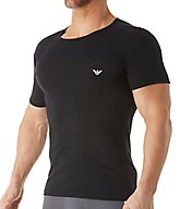 Emporio Armani Shiny Logo Cotton Stretch Crew Neck T-Shirt 0356A512