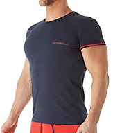 Emporio Armani Striped Logo Cotton Stretch Crew Neck T-Shirt 0356A525