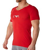 Emporio Armani Color Stretch Cotton V Neck T-Shirt 8107P715