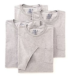 Fruit Of The Loom Big Man Core Cotton Grey Pocket Tee - 4 Pack 4P3LA1X