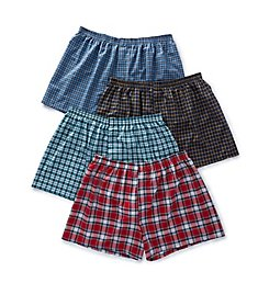 Fruit Of The Loom Extended Size Tartan Plaid Woven Boxers - 4 Pack 4P590X