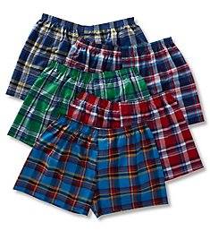 Fruit Of The Loom Extended Size Plaid Woven Boxers - 5 Pack 5PHTHX