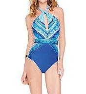 Gottex Blue Jasmine High Neck One Piece Swimsuit 16BJ054