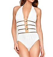 Gottex FashioCrystal Clear Deep Halter One-Piece Swimsuit 16CC019