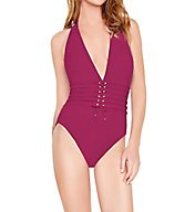 Gottex Jezebel Deep Halter One Piece Swimsuit 16JZ019
