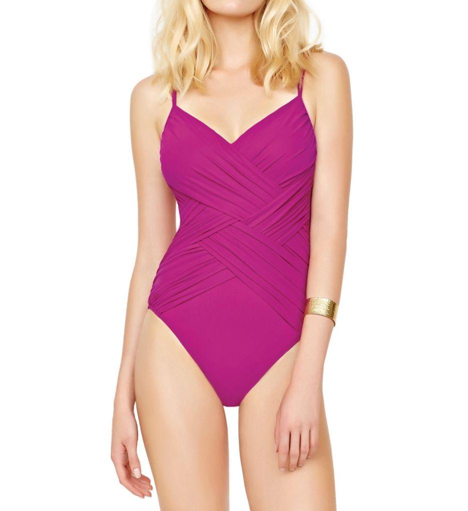 Gottex Lattice V-Neck One Piece Swimsuit 17LA136