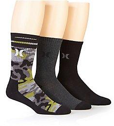 Hurley Half Terry Crew Assorted Camo Crew Socks - 3 Pack H116199