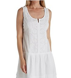 La Cera 100% Cotton Sleeveless Floral Embroidered Chemise 1090C