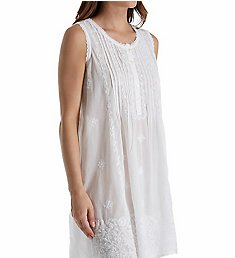 La Cera 100% Cotton Woven Sleeveless Embroidered Gown 1104C