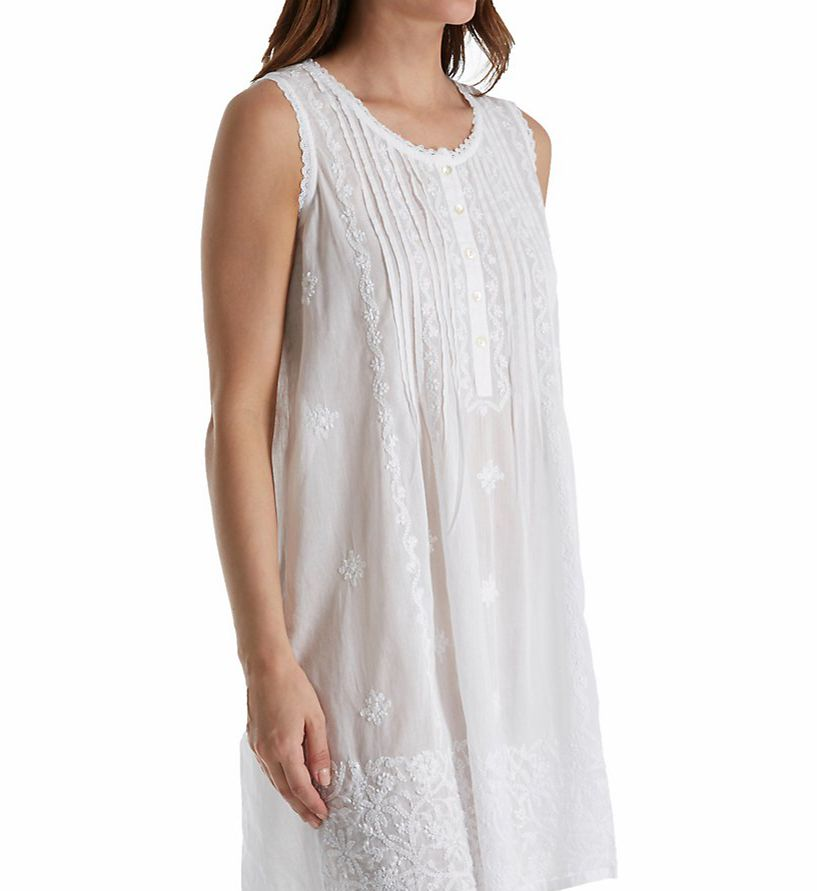 La Cera 100% Cotton Sleeveless Embroidered Gown 1104C
