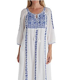 La Cera 100% Cotton Embroidered Caftan 1119G