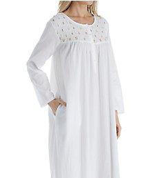 La Cera 100% Cotton Woven Rosebud Long Sleeve Long Gown 1171G