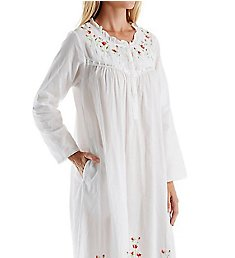 La Cera 100% Cotton Woven Long Sleeve Long Gown 1181A