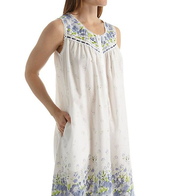La Cera Sleeveless 100% Cotton Border Print Gown 1209G