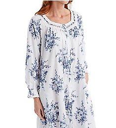 La Cera 100% Cotton Woven Printed Floral Button Front Robe 1211R
