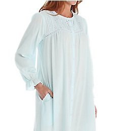 La Cera Cotton Crochet Long Sleeve Robe With Pockets 1250R