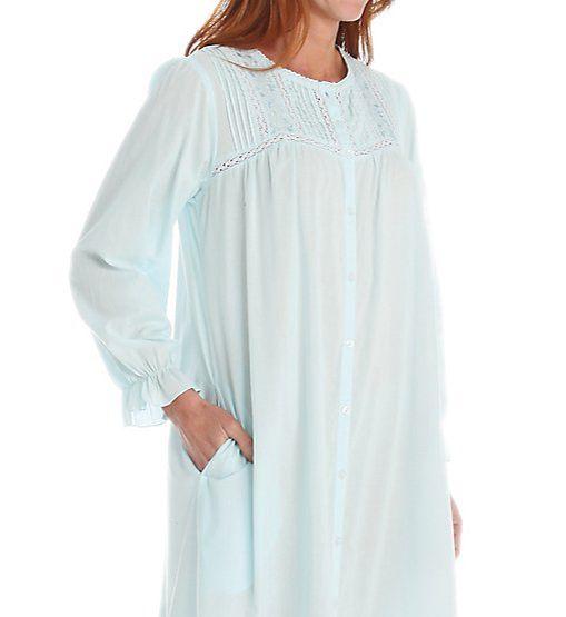 La Cera Cotton Crochet Long Sleeve Robe With Pockets 1250R