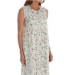 La Cera 100% Cotton Woven Sleeveless Nightgown 1277G