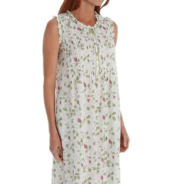 La Cera Sleeveless Cotton Nightgown With Pockets 1277G