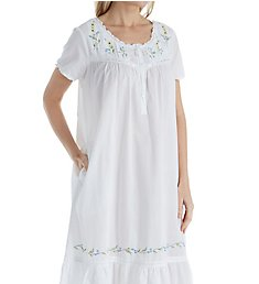 La Cera 100% Cotton Woven Short Sleeve Gown with Pockets 1282G