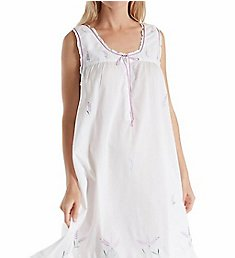 La Cera 100% Cotton Woven Sleeveless Nightgown 1283G