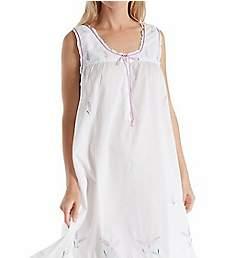 La Cera 100% Cotton Woven Sleeveless Nightgown 1283G