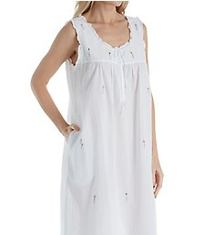 La Cera 100% Cotton Woven Sleeveless Long Nightgown 1286G