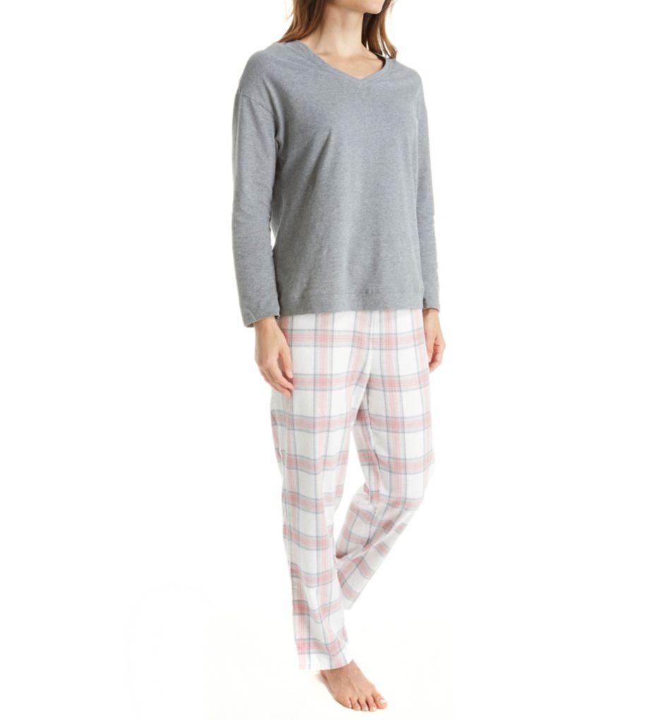 La Cera Knit and Flannel PJ Set 1520-2
