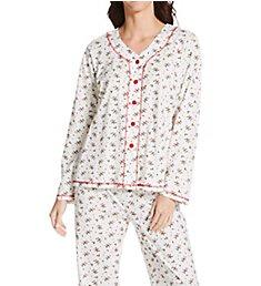 La Cera Cotton Knit Button Front PJ Set 15781
