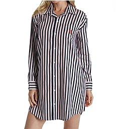 Lauren Ralph Lauren Sleepwear Navy Stripe Classic Sateen Long Sleeve Sleepshirt L31519N
