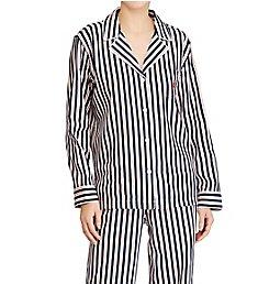 Lauren Ralph Lauren Sleepwear Navy Stripe Classic Sateen Notch Collar PJ Set L91519N