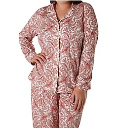 Lauren Ralph Lauren Sleepwear Classic Knits Long Sleeve Notch Collar PJ Set L92024F