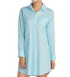 Lauren Ralph Lauren Sleepwear Classic Woven Long Sleeve Roll Tab Sleepshirt LN31573