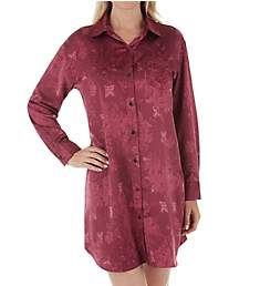 Lauren Ralph Lauren Sleepwear Satin Long Sleeve Button Front Sleepshirt LN31644