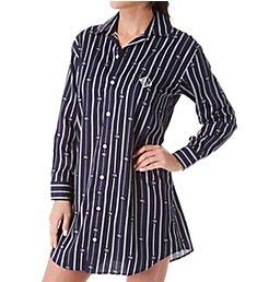Lauren Ralph Lauren Sleepwear Logo Stripe Woven Long Sleeve Sleepshirt LN31733