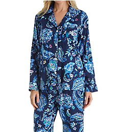 Lauren Ralph Lauren Sleepwear Paisley Long Sleeve Notch Collar Long PJ Set LN91519