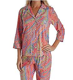Lauren Ralph Lauren Sleepwear Classic Wovens 3/4 Sleeve Notch Collar PJ Set LN91540